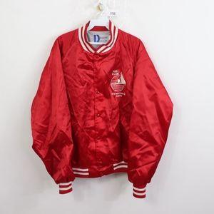 80s Mens XL Rockabilly Bowling Satin Jacket Red